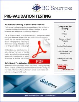 Pre Validation Testing Info